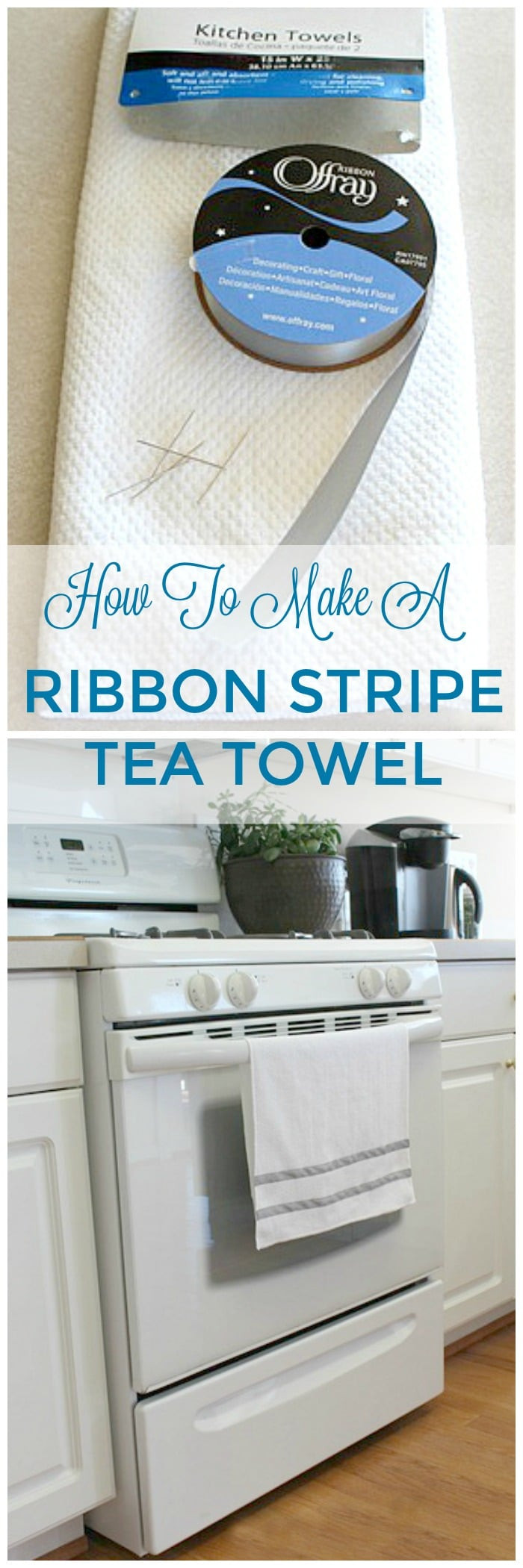 Make these pretty DIY Ribbon Stripe Tea Towels to decorate your kitchen - so quick and easy to make with this tutorial, supply list and instructions. These gorgeous kitchen towels are a great gift idea too!