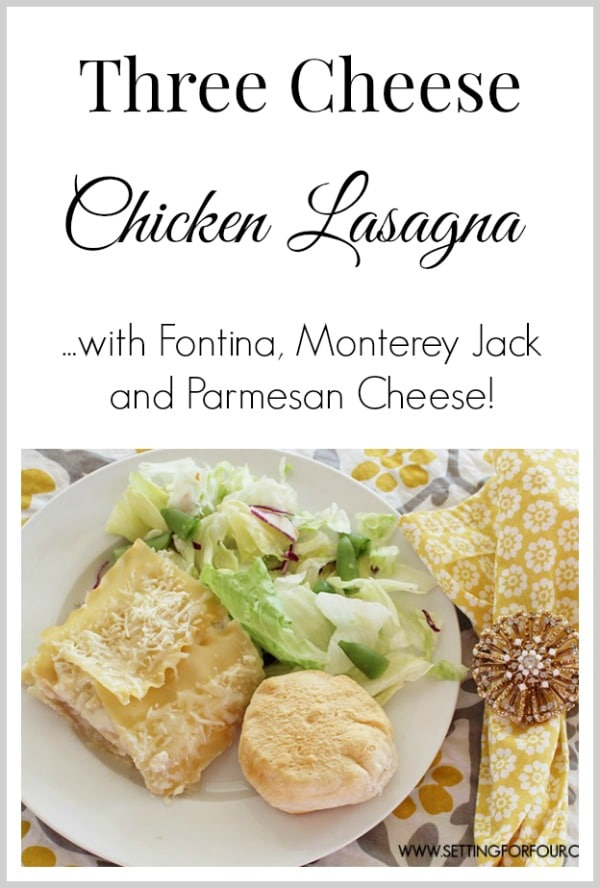 Three Cheese Chicken Lasagna - a delcious pasta casserole that's a yummy comfort food recipe! www.settingforfour.com