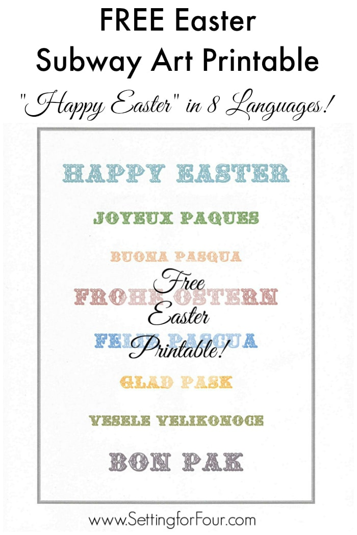 FREE Easter Subway Art Printable! Happy Easter in 8 languages! Just print, frame and hang for instant decor. www.settingforfour.com