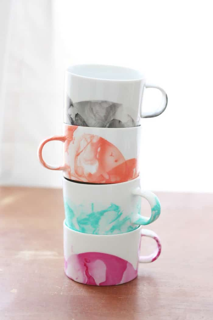 DIY Marbled Mugs using Nail Polish