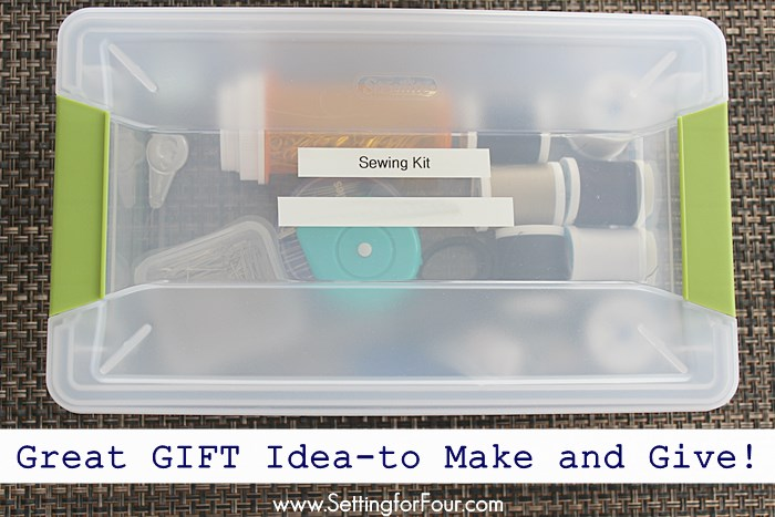 How to Make a Dorm Room Survival Sewing Kit filled with all the things your college bound kid needs to fix missing buttons plus clothing rips and tears! Includes a supply list to create a handy DIY container filled with all of the sewing fix and repair essentials. Make one up to keep in your car for on-the-go sewing emergencies too!