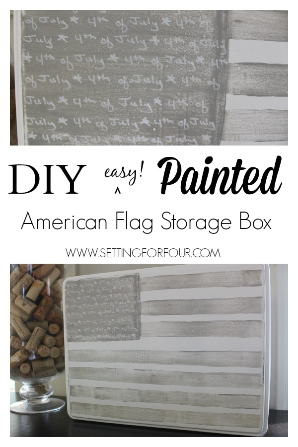 Easy DIY American Flag Storage Box made from a thrifted tea tin! See the makeover!