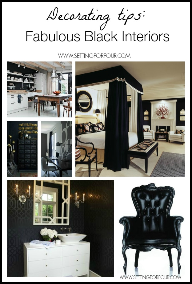 Black interiors fit many design styles...tradtional, contemporary, classic, vintage.  Lets take a look at how the color black decor can wow to a room!