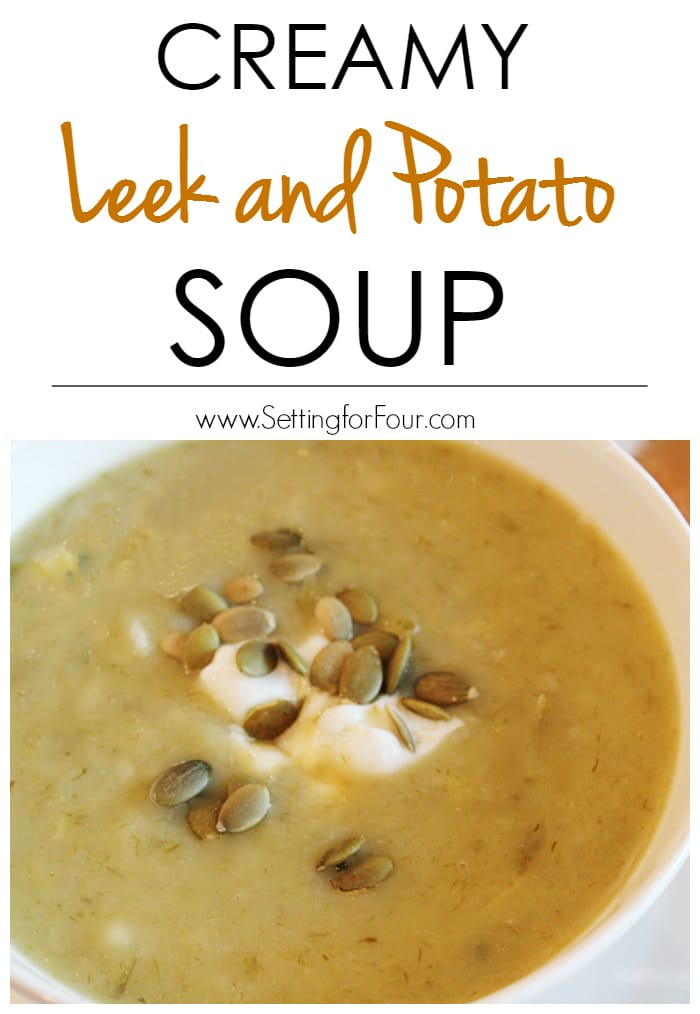 Creamy Leek and Potato Soup Recipe - the perfect comfort food! Delicious lunch or supper idea the whole family will love! www.settingforfour.com