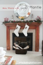 Red, White and Sparkly Christmas Mantle