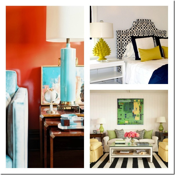 Lamps with a pop of designer color - instant home decor and style!