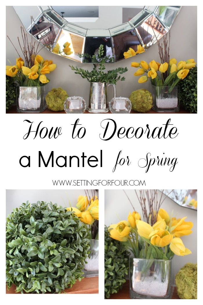 How to Decorate a Spring Mantel - This decorating lesson shows you how to decorate with Spring flowers and moss.