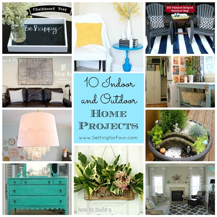 10 Beautiful DIY Indoor and Outdoor Home Projects for your home - lots of great DIY decor ideas including furniture makeovers, DIY lighting, painted rug and more! www.settingforfour.com
