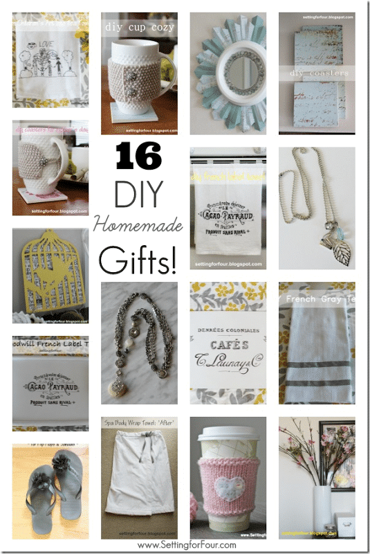 16 DIY Homemade Gifts to Make! Great gift ideas for her - for the holidays, birthdays, teacher gifts and Mother's Day!