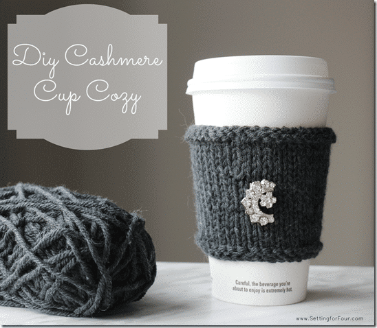 Learn how to make this QUICK AND EASY DIY Cashmere Cup Cozy! I added my grandmother's vintage brooch to it for some pretty sparkle. See the knitting tutorial and supply list to make this fun mug cozy craft. Great gift idea!