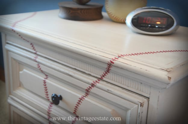 DIY Painted Baseball Nightstand