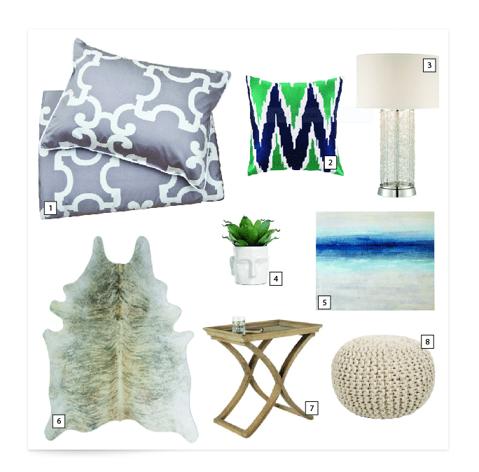 Bedroom Decor Inspiration and Mood Board Design - bedding, art, lighting, area rugs, furniture and accessory ideas for a tranquil bedroom retreat! www.settingorfour.com