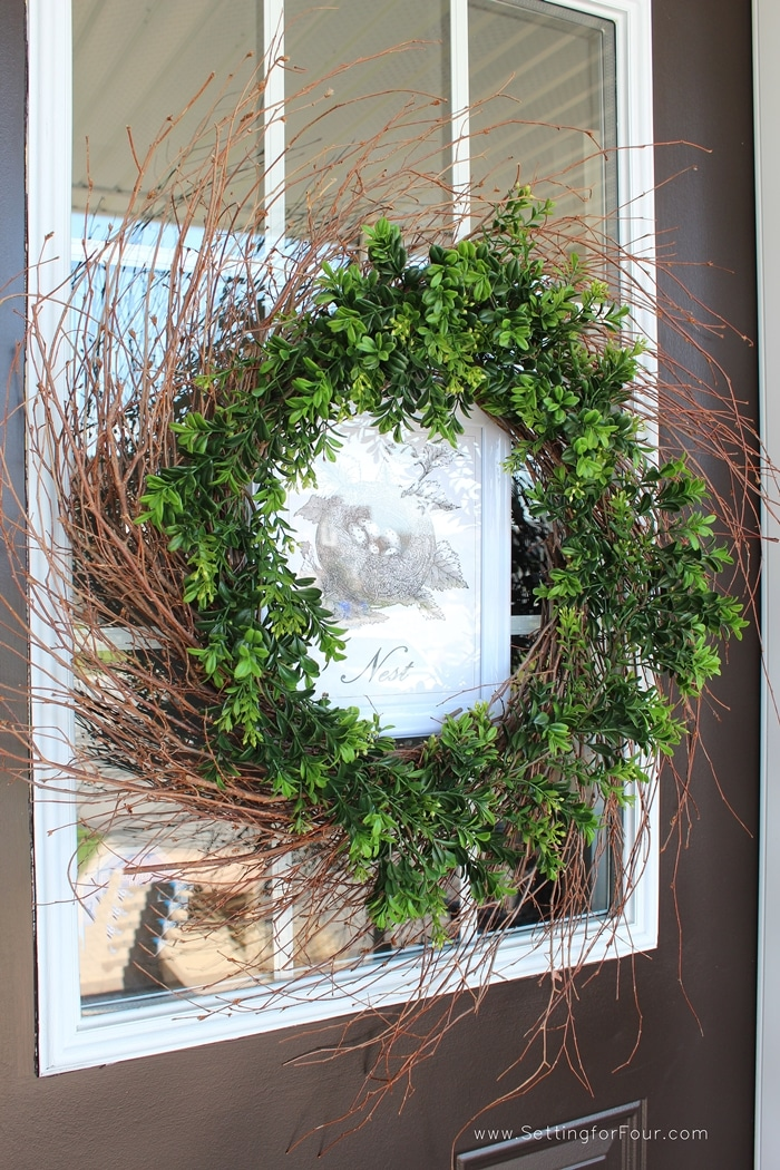DIY Porch or Entryway Decor - DIY Spring Wreath Decorating Tips. www.settingforfour.com