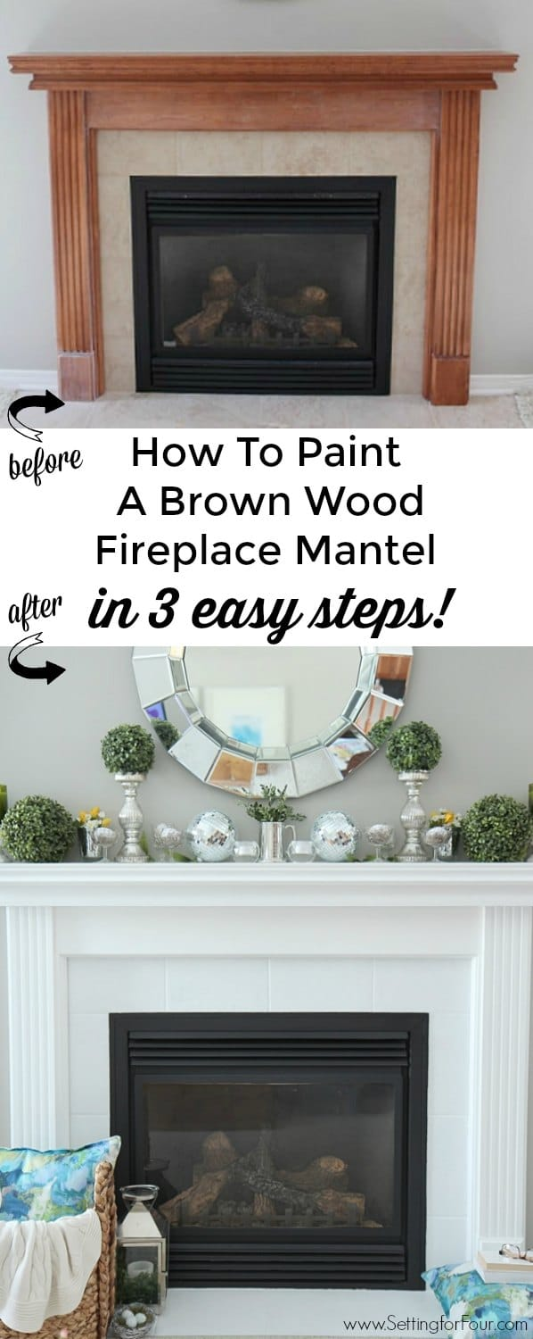 See this stunning fireplace mantel reveal! Learn how to paint a brown wood mantel in 3 EASY steps! The DIY paint tutorial and supply list is included. This is such a quick and easy DIY home improvement project.