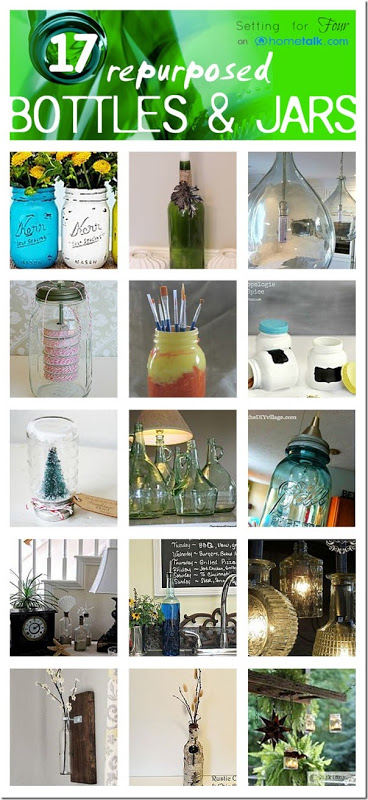 Repurposed bottle and jars beautiful home decor ideas for Repurposed home decorating ideas