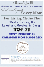 Thank You To My Readers and Savvy Mom! // Top 75 Most Influential Canadian Mom Bloggers List