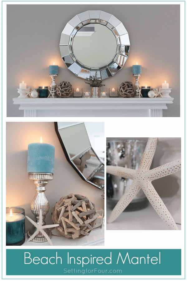 Home decorating ideas and tips: Learn how to decorate a Summer Beach Inspired Mantel with coastal colors and beach style accessories! Add pretty summer decor to your living room mantel with aqua blue candles, starfish, driftwood and capiz shell accents and a statement mirror. Supply list of decor items included so you can get the same look.