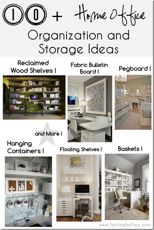 10 Helpful Home Office Storage And Organizing Ideas Setting For Four