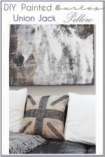 DIY Painted Burlap Union Jack Pillow