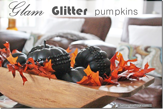 Easy to make! Glam Glitter Pumpkins DIY Tutorial. These gorgeous pumpkins are a great way to decorate your home for Fall and Halloween!  wwwSettingforFour.com