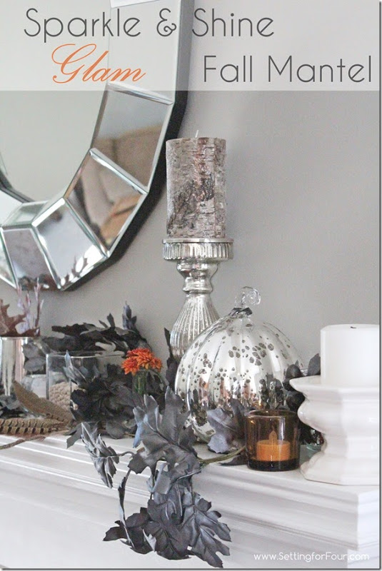 Fall Mantel Decor lesson: See these helpful home decorating tips to create a Rustic Glam Fall Mantel with sparkle and shine! Learn how to decorate a living room mantel for autumn. Supply list of decor items included so you can get the same look.