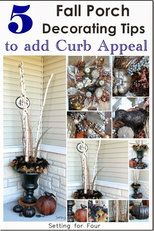 5 Gorgeous Fall Porch Decorating Tips to add Curb Appeal! Wreath ideas, fall urn displays, pumpkin decor and more! #porch #decor #curbappeal #autumndecor #wreath #frontdoor #urn