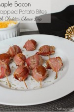 Maple Bacon Wrapped Potato Bites with Cheddar Cheese Dip