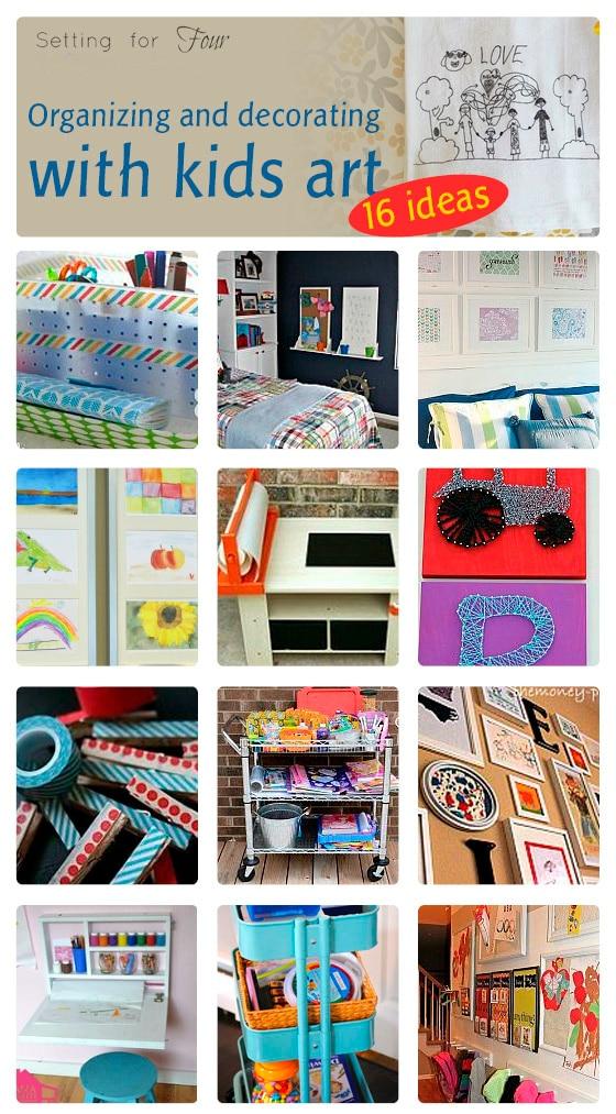 16 Fun Ways to Display Kids Art and Organize Kids Art Supplies! www.settingforfour.com