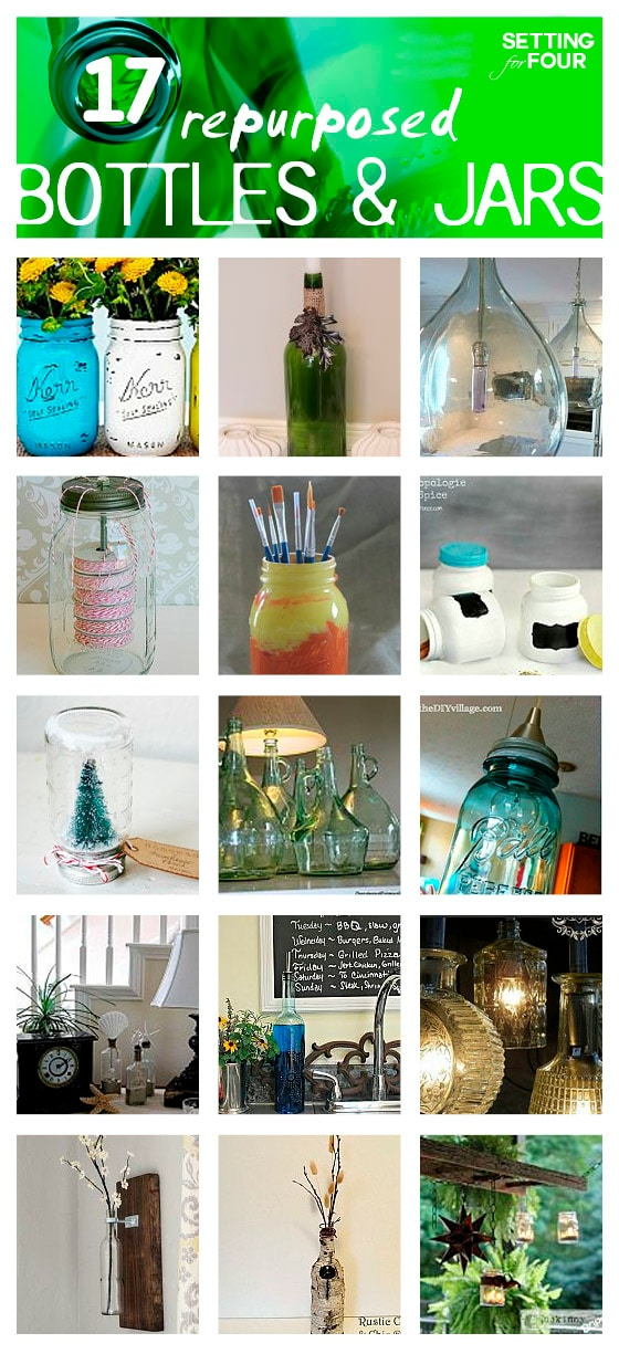 17 DIY Repurposed Bottles and Jars! See these beautiful diy home decor and organization projects! www.settingforfour.com