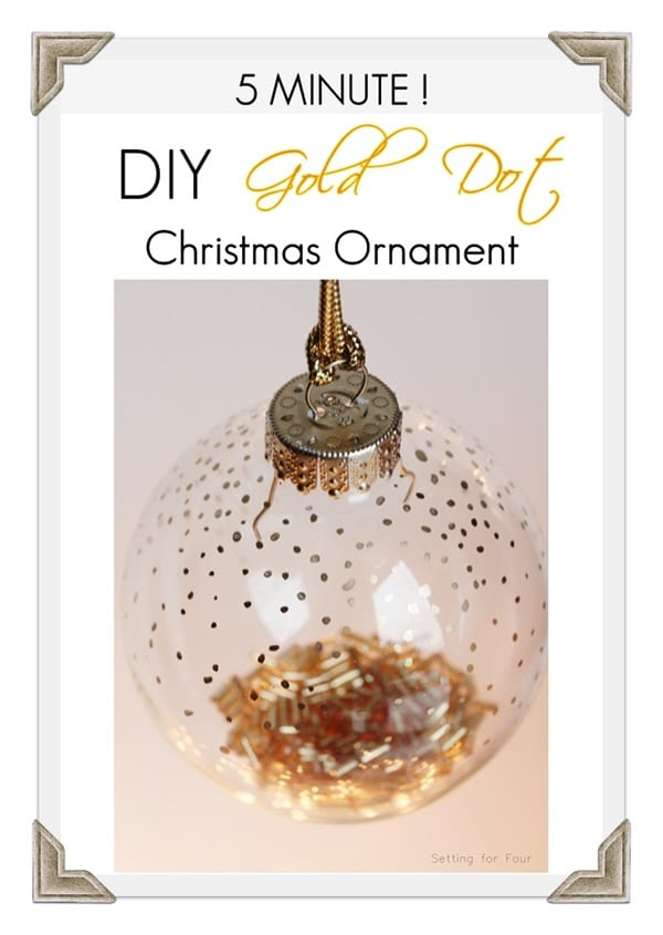 Make this gorgeous handmade Holiday Ornament in 5 Minutes! DIY Gold Bead Christmas Ornament to decorate your tree or use as a present topper. www.settingforfour.com