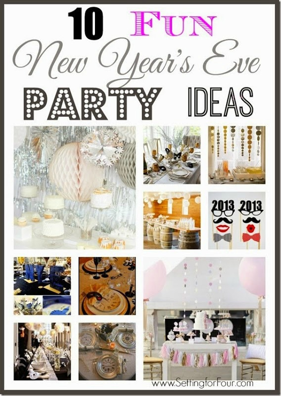 10 Fun New Year's Eve Party Ideas including photo booth props, entertaining table decor ideas, tassel banners, New Years Eve party backdrops and more!