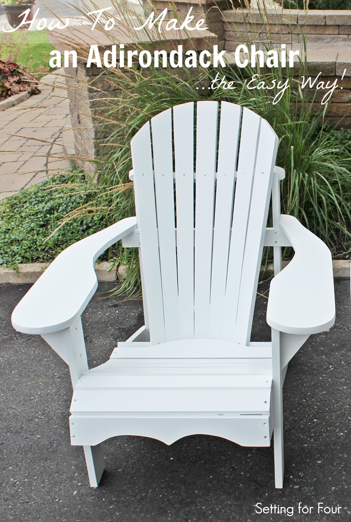 Make this comfy DIY Wood Adirondack Chair in one weekend! Template of all chair parts, plans, step by step tutorial, material list and paint color included!