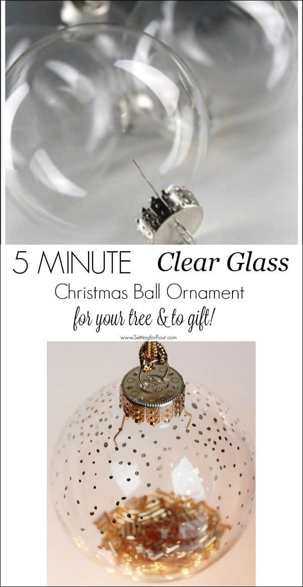 This is an easy DIY clear glass Christmas Ball Ornament filler craft that is perfect for your tree and to gift! #easy #diy #christmas #christmasdecor #christmasornament #christmasball #christmascraft #christmastree #christmasgift