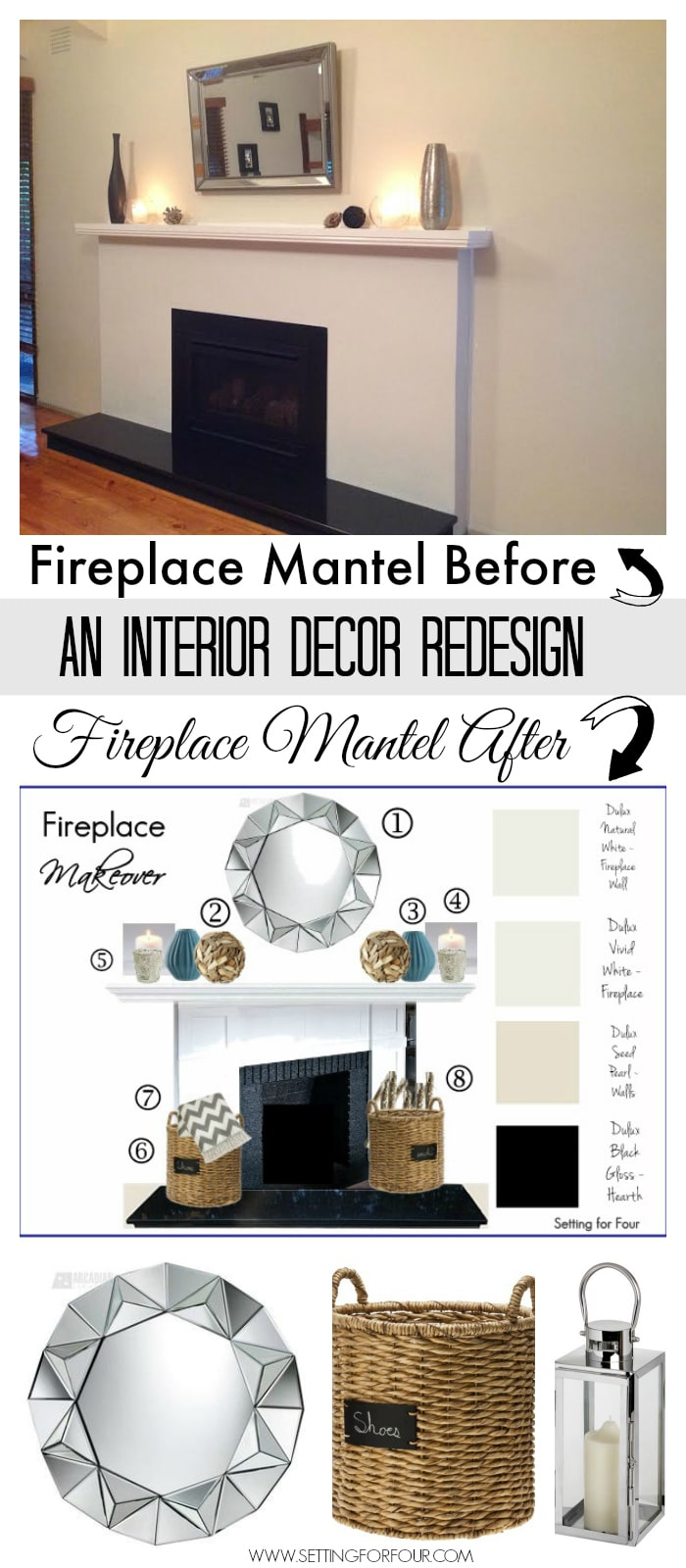 See this amazing fireplace mantel redesign before and after! Such a beautiful makeover. See the advice and tips I give a blog reader looking for decor advice for her fireplace!