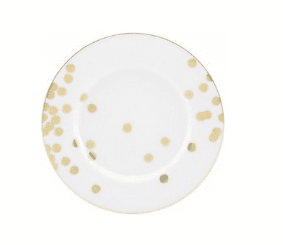Kate Spade gold Confetti 'Ticker Tape' patterned dinnerware.