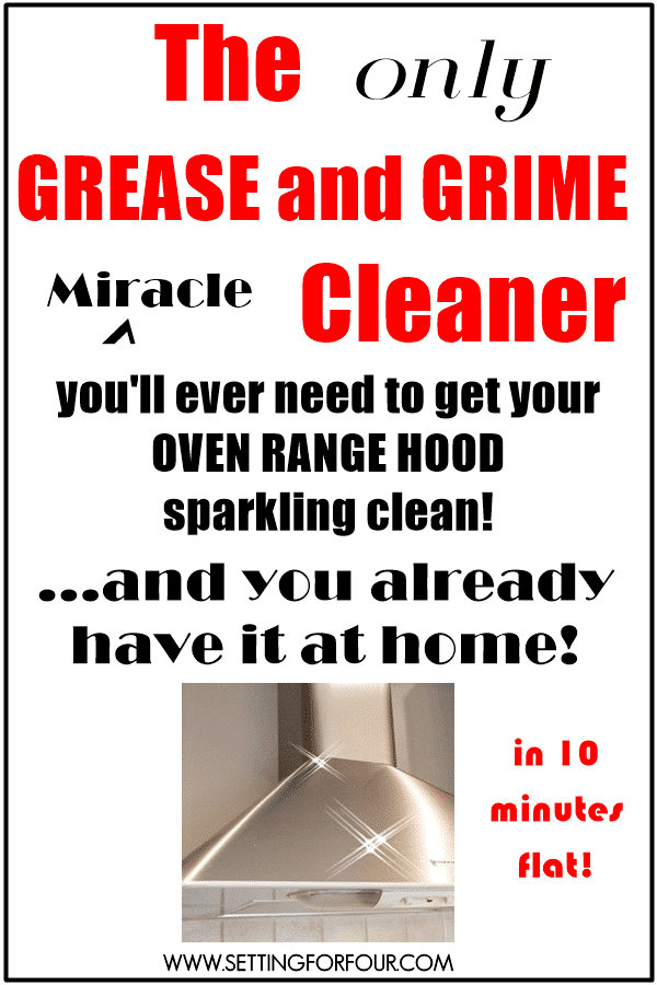 The Only Grease and Grime Cleaner you'll ever need to get your Oven Range Hood Clean www.settingforfour.com