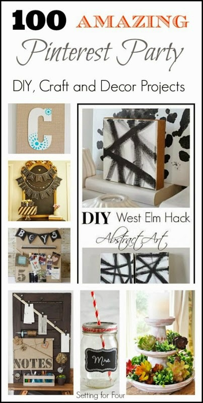 Amazing DIY inspiration! See 100 Beautiful Pinterest Party DIY, Decor and Craft Ideas to refresh and update your home! Home ideas inspired by Pinterest.