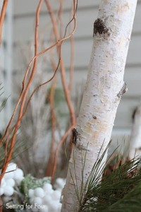 Birch branches decorate an urn