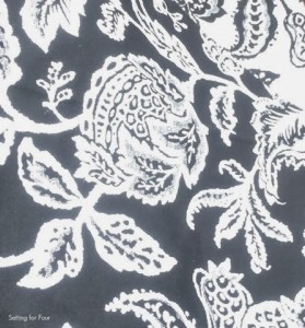 Black and White Floral and Vine Fabric