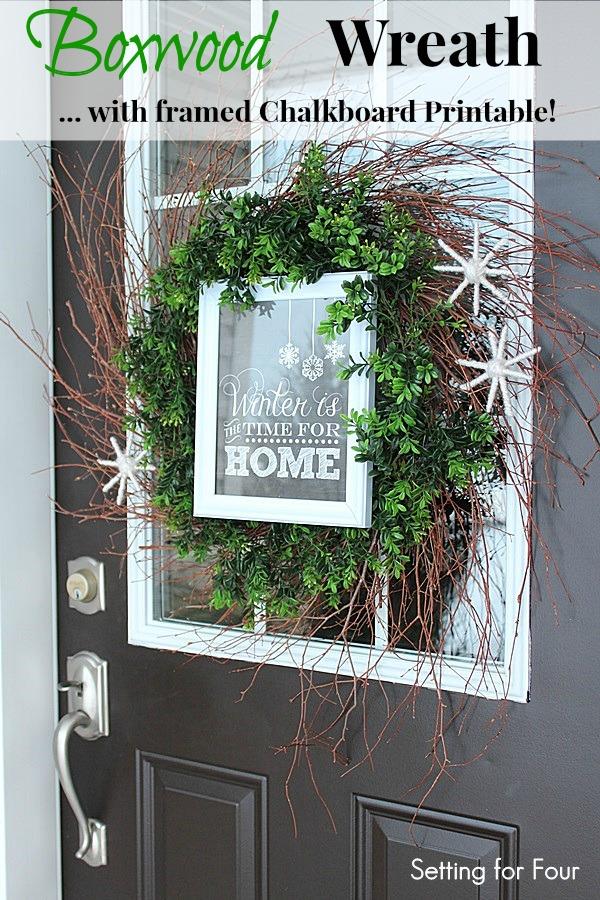 DIY Boxwood Wreath with Framed Chalkboard Printable and DIY Yarn Snowflakes
