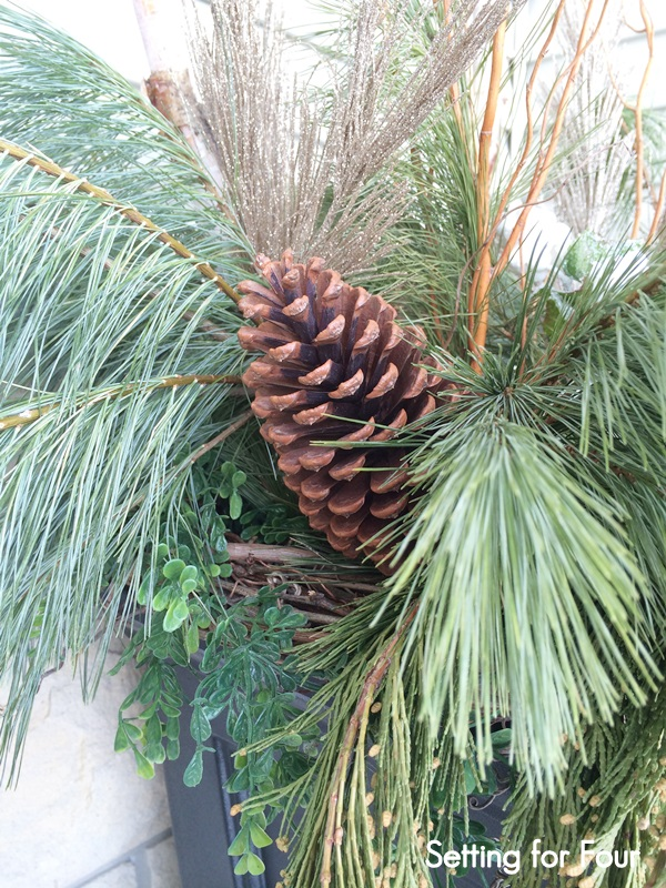 Decorate a Christmas or Winter Urn with pinecones, curly willow and fresh pine