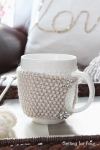 Easy DIY Cup Cozy with Vintage Buttons