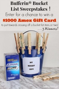 Enter to win $1000 Amex Card in Bufferin Bucket List Sweepstakes #bufferinbucketlist