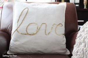 Living Room Decor with DIY Sequin Love Pillow