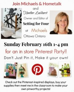 Michaels, Hometalk and Setting fof Four Pinterest Party Event