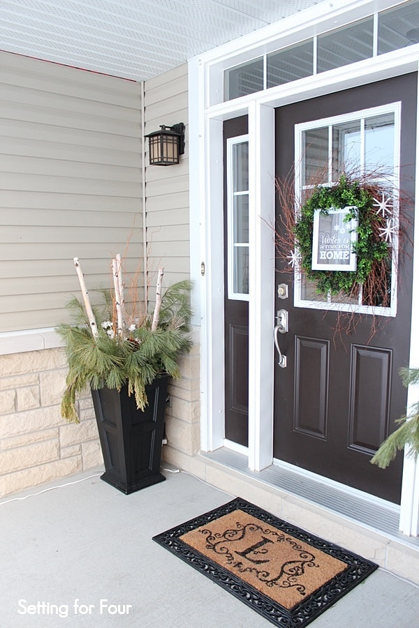 Winter Entryway Decor And Curb Appeal Ideas Setting For Four