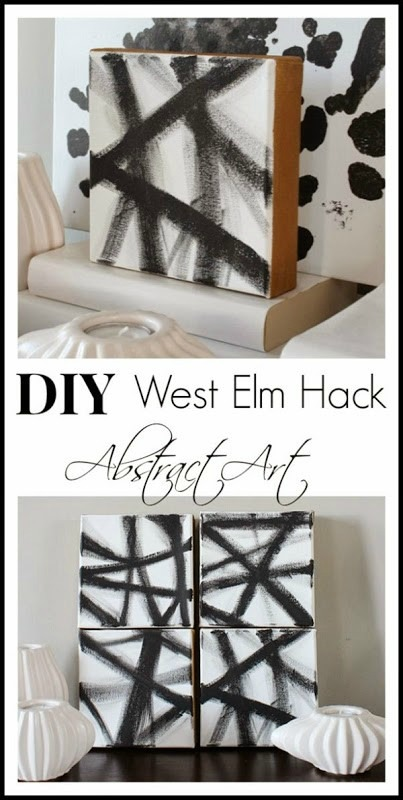 Quick and Easy DIY West Elm Hack - Abstract Art. Art can be expensive - make your own! This is such an easy, inexpensive way to decorate your walls. www.settingforfour.com