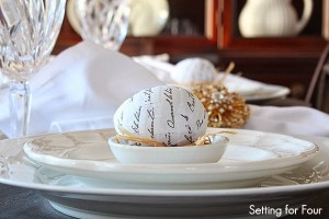 Spring Tablescape with DIY French Script Eggs in raffia nests