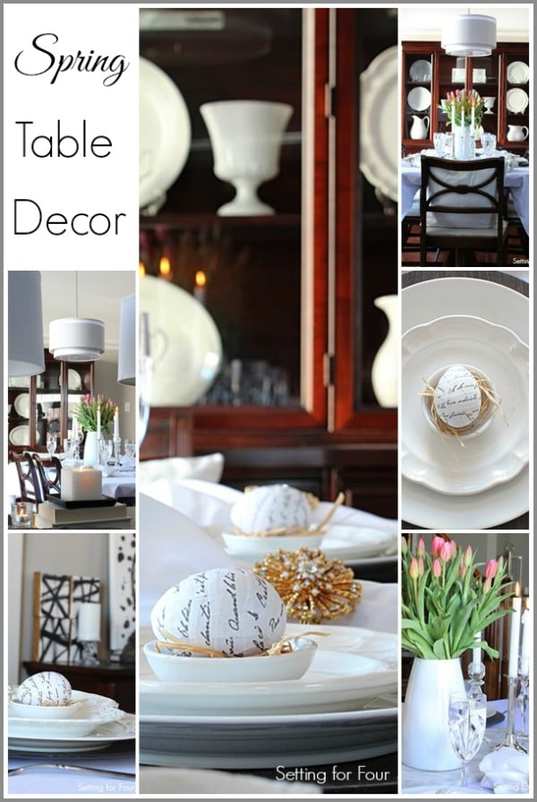 Spring Dining Room decorating and table decor tips! Spring centerpiece and place setting ideas to add Spring to your home. www.settingforfour.com