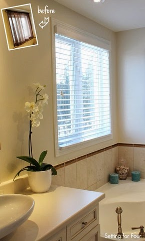 Update your bathroom window treatments and refresh your home decor Instantly with new composite wood blinds and sheer shades.
